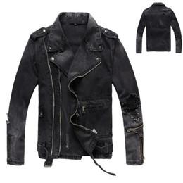 2019 casacos afligidos do jean Nova marca B Mens Jaquetas Designer Rasgado Jaquetas Jeans Streetwear Afligido Motociclista Motociclista Jeans Jaqueta Designer casacos afligidos do jean barato
