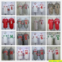T-shirts frauen online-2019 Herren Damen Jugend Kinder 5 Johnny Bench Jersey nähte 6 Billy Hamilton 14 Pete Rose Baseball-Shirts Top-Qualität weiß grau camo
