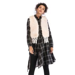 Abrigo de capa corta online-Kenancy Mujeres Chaleco de Piel Sintética Otoño Invierno Cálido Mantón del Cabo Abrigo Moda Corto Chaleco de Encaje Abrigo de Piel Mujer Outwear Casual