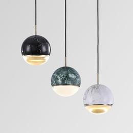 2019 i marmi di vetro liberano il trasporto Lampade a sospensione moderne a sfera in marmo moderne lampade a sospensione a LED in vetro da comodino da bar per ristorante d'arte spedizione gratuita sconti i marmi di vetro liberano il trasporto