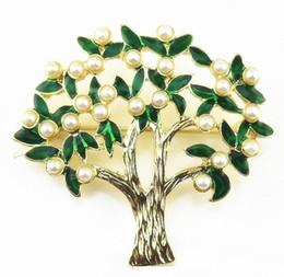 Único broche de pérolas on-line-Sobretudo Roupas Broches pin Francês original único esmeralda bela jóia com modelos antigos esmalte broche vintage pérola folhas verdes