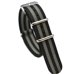 blue nato strap Coupons - James Bond 007 20mm 22mm Nato Strap Watch Band Men Silver Pin Buckle Canvas Watch Strap