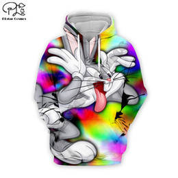 2020 куртки галактики мужчины 2019 Мужчины Женщины Галактика 3D толстовки мультфильм Багз Банни Луни Тюнз красочный печатных толстовка унисекс свободного покроя пуловер осень подростковые куртки A535 дешево куртки галактики мужчины