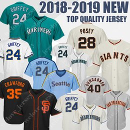2019 crawford baseball Seattle 51 Ichiro Suzuki Mariners dos homens 24 Ken Griffey Jr. São Francisco 28 Posey 35 Camisolas de Beisebol de Brandon Crawford Giants crawford baseball barato