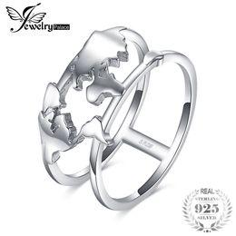 anillos de mapa Rebajas JewelryPalace 925 Sterling Silver World Map Split Shank Anillo de declaración de doble banda para las mujeres como regalos hermosos nueva venta caliente J190523