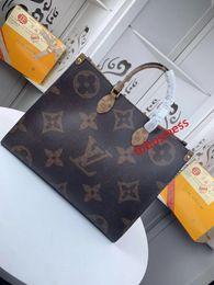 bolsa de ombro cordura Desconto # 458 5A L marca V OnTheGo bolsa de lona bolsa de moda clássico Toron sacos alça superior do couro genuíno de grande capacidade saco de compras M44576