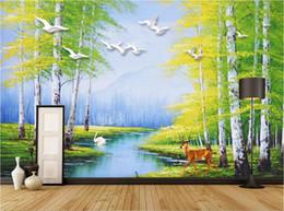Mural do lago on-line-3d quarto papel de parede personalizado foto não-tecido mural pintura a óleo tridimensional Europeia Swan Lake Forest Elk mural papel de parede para paredes 3 d