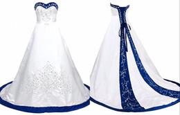 2019 encaixe flare tampou manga vestido de casamento Azul Royal Branco Vestidos De Noiva Princesa Designer Espartilho De Cetim Bordado Frisado Lantejoulas Vestidos De Noiva De Casamento Baratos Vestidos De Novia