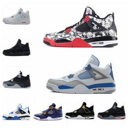 5dd0ad3fc32 Chaussures Nike Air Jordan Retro 4 de basketball de 4s pour hommes baskets  Tattoo en graffiti noir et blanc Cactus Jack Raptors Kaws Travis Scotts  Money ...
