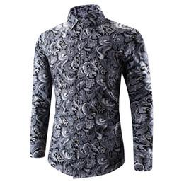 Panos tradicionais chineses on-line-Impressão tradicional Mens Designer Camisa Homme Camisa de Manga Longa Com Padrão Chinês Antigo Moda Masculina Pano