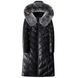 Glänzende Echte Lederjacke Winter Frauen Weiße Ente Daunenmantel Weibliche Dicke Dünne Natürliche Fuchspelzmantel Plus Größe Mäntel GRAU von Fabrikanten