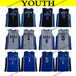basketball black shirts Promo Codes - 2018 Youth Duke Blue Devils College Basketball Jersey Boys 1 Zion Williamson 5 RJ Barrett Black Kids Basketball Shirts