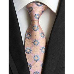 Желтый шелковый галстук онлайн-Factory Vintage 8CM Classic Mens 100% Silk Ties Floral Red peach Yellow Blue Purple Accessories Jacquard Woven necktie Neck Tie