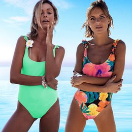 74b871c8ec2c2 2019 Sexy Off Shoulder Swimwear Women Swimsuit Print Solid One Piece  Swimsuit Ruffle Bathing Suit Beach Backless Monokini Swim C19011001