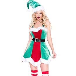 e0c281fa7d New Christmas Elf Velvet Bodycon Dress Costume Sexy Halterneck Costume Red  and Green Vestidos Female Party Pointy Hat Nightclub