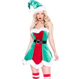 Новый Рождественский эльф бархат Bodycon платье костюм сексуальный Halterneck костюм красный и зеленый Vestidos женская партия заостренная шляпа ночной клуб cheap sexy female christmas costumes от Поставщики сексуальные женские рождественские костюмы