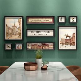 quadros de arte barato Desconto Estilo Retro Sala de estar Pendurado Quadro de Imagem Combinação Barato Wall Photo Frame Porch Parede Panting Picture Frame Art Home Decor