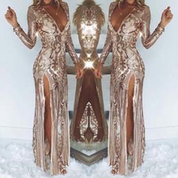 Robes de soirée plus taillées en Ligne-Brillant Longue Robes De Bal 2019 Sexy Brillant À Manches Longues Robe De Soirée Formelle Plus La Taille Celebrity Pageant Robe Personnalisé BC1016