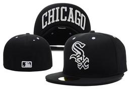 Chapeaux de baseball ajustés White Sox en noir complet Couleur Ville Nom sous le bord plat Équipe sportive pas cher Caps fermés Bones 1 Pièce ? partir de fabricateur