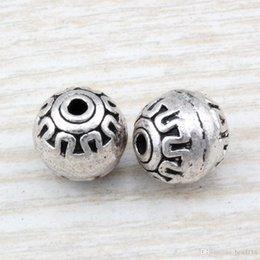 Mic silberne runden online-MIC 50pcs antike silberne Zink-Legierung Runde Spacer Perlen 11mm DIY Schmuck D27