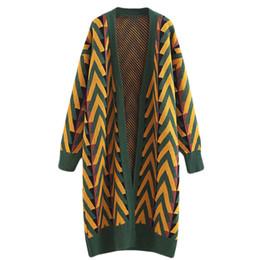 Корейский большой вязаный свитер онлайн-Длинный свитер пальто женский осень зима корейский полосатый свободные большой размер длинные над коленом вязать негабаритных v шеи кардиган