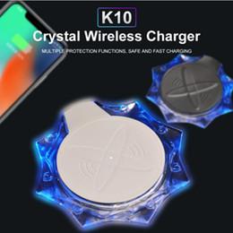 Carregador iphone 5w on-line-K10 qi cristal de carregamento sem fio pad 5 w portátil para samsung s10 9 8 7edge iphone xs max xr x 8 plus telefone carregador rápido sem fio
