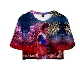 Tv garota americana on-line-2019 American Horror série de TV Stranger Things New 3D Topos de Impressão Crops Menina t-shirt Curto T shirt Mulheres Sexy Venda de Roupas Casuais