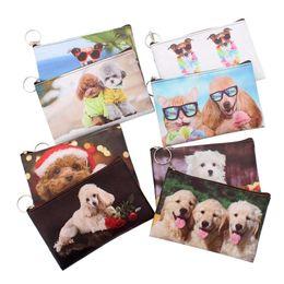 Neue Karikatur 3D Hunde Münzen Geldbörsen Frauen Mini Brieftasche Mädchen Brieftasche Tasche Damen Reißverschluss Geldbörsen Kinder Beutel kleine dünne Brieftaschen von Fabrikanten