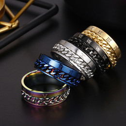 rainbow rings for women Promo Codes - Roman Numerals Rotatable Ring Stainless Steel Spin Chain Ring Band Rings Fashion Jewelry for Men Women Will and Sandy Gold Rainbow 080468