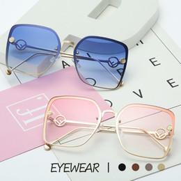 Deutschland 2019 italien F Markendesigner Elegante Dame Quadrat Sonnenbrille Frauen Vintage Randlose Gradienten Sonnenbrille Für Weibliche UV400 Versorgung