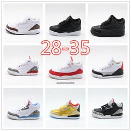 Sapatos de bebê de tecido branco on-line-Crianças Crianças 3 Sapatos de Corrida Do Bebê Da Menina do Menino UNC OG Pai-filho de Moda Designer de Branco Clássico 3 s Sapatos Cinza Preto Oreo Tamanho Eur28-35