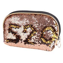 2020 bolso de embrague en forma de concha Embrague de lentejuelas reversible forma de concha de blusa Cremallera Maquillaje cosmético Bolsa de embrague rebajas bolso de embrague en forma de concha