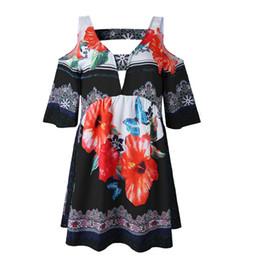 Blusa para mujer Tops 2019 Nueva camiseta con cuello en V Casual espalda abierta Ladies Tops Off The Shoulder Impreso camisa Floral Sexy Tee desde fabricantes