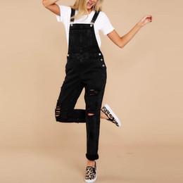 688082084291 jumpsuits for woman denim Australia - Women Casual Denim Bib Pants Hole Overalls  Jeans Straps Demin