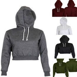 2019 En Gros Automne Femmes Solid Crop Hoodie À Manches Longues Jumper À Capuche Pull Manteau Casual Sweat Top Coton Sweat-shirts Femme ? partir de fabricateur