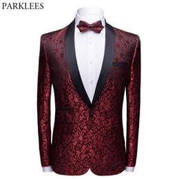 Vestiti maschi rossi prom online-Wine Red Floral Jacquard One Button giacca maschile collo a scialle Slim Fit Mens Blazer Festa di nozze Prom Tuxedo Blazer Hombre