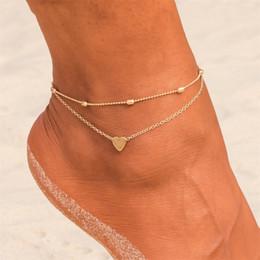 Joyas de ganchillo online-Sencillo Corazón Tobilleras femeninas Sandalias de ganchillo descalzo Joyas para las piernas Nuevo Tobilleras En el tobillo Pulseras para las mujeres Cadena de la pierna