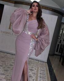 2019 mono de manga larga marfil hizo lado de Split Arabia Saudita larga de las mangas V sin Cuello del vestido de noche Kaftan Dubai Prom partido formal de los vestidos por encargo