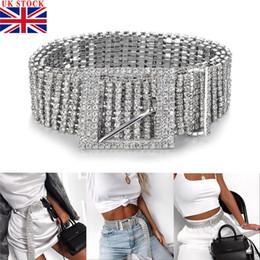 2019 cinturones de diamantes de imitación completa Mujer de plata Rhinestone lleno Diamante de las señoras de la cintura del diamante de la correa de la correa de accesorios de moda Casual Un tamaño para adultos cinturones de diamantes de imitación completa baratos