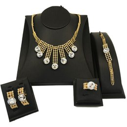 earring nigeria Promo Codes - Nigeria Jewelry Set for Women Bridal Jewelry Set Dubai Alloy Four Piece Necklace Bracelet Earrings Ring