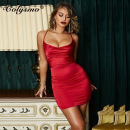 Colysmo Yaz Leopar Baskı Saten Elbiseler Kadın Parti Gece Seksi Düşük Kesim Backless Elbise Kırmızı Ince Streç Kısa Elbise Vestido cheap backless night dresses nereden gerdansız gece elbiseleri tedarikçiler
