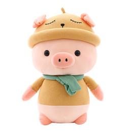 2019 bonecos de doces Agradável doce Scarf Pig Pillow Adormecida bonito Porco Boneca Stuffed Plush Toy Criança Presente de Natal de aniversário desconto bonecos de doces
