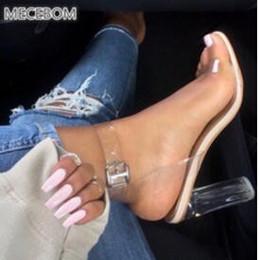 Saltos claros on-line-Mais recente Mulheres Bombas Fivela Sandálias Sapatos de Salto Alto Celebridade Vestindo Estilo Simples PVC Transparente Transparente Com Tiras. GGX-011
