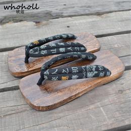 2019 sandales japonaises WHOHOLL Sandales japonaises Geta en bois Sabots Sandales plates en caoutchouc à bouts de caoutchouc Pantoufles en bois pour hommes Paulownia sandales japonaises pas cher