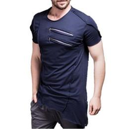 Muskelhemdentwurf online-Neue Design Männer Brust reißverschluss T-shirt Muscle Fitness Work Out Streetwear Für Männliche Sportliche T-shirt Mens Bodybuilding Tees Tops