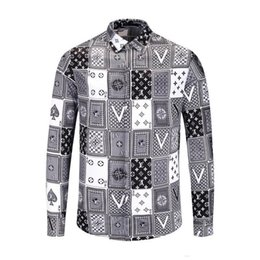 2020 camisa de vestido da flor dos homens NEW cor nova primavera e outono camisa de algodão homens Medusa flor retro impressão camisa casuais dos homens de luxo Harajuku camisa de vestido da flor dos homens barato