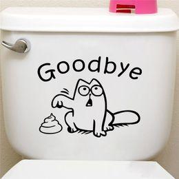 Asientos de vinilo negro online-Divertido gato negro asiento del inodoro etiqueta de la pared baño coche tanque ventana decoración para el hogar animal de la historieta decir adiós calcomanías de vinilo arte mural