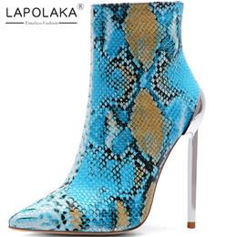 Lapolaka Nuevas llegadas 2019 Venta caliente de gran tamaño 34-45 Zip Up Botines de mujer Zapatos de tacón atractivo y delgado Zapatos de oficina Mujer Botas desde fabricantes
