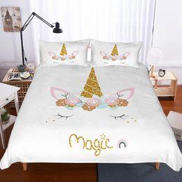 cama de la muchacha tamaño de la reina Rebajas Yi chu xin 3d unicornio juego de cama ropa de cama de dibujos animados de impresión edredón funda set niña dormitorio de los niños cama tamaño queen
