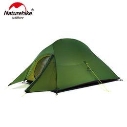 tecido para tendas Desconto Naturehike atualizado nuvem até 2 barraca ultraleve pé livre 20D tecido 2 pessoas barracas de acampamento com livre mat NH17T001-T